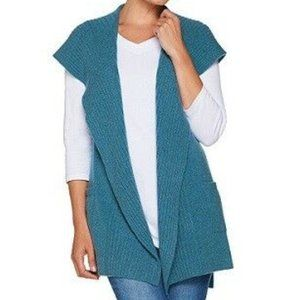 NWT! Isaac Mizrahi 2-Ply Cashmere Hooded Vest